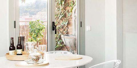 Room, Interior design, Glass, Floor, Furniture, Table, Fixture, Grey, Interior design, Design,