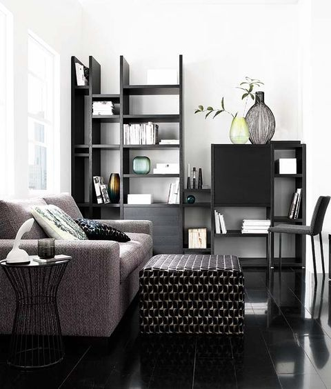 Furniture, Room, Living room, Black, Black-and-white, Interior design, Shelf, Table, Wall, Monochrome photography,