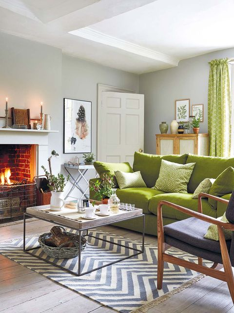 Green, Room, Interior design, Wood, Property, Floor, Home, Hearth, Living room, Wall,