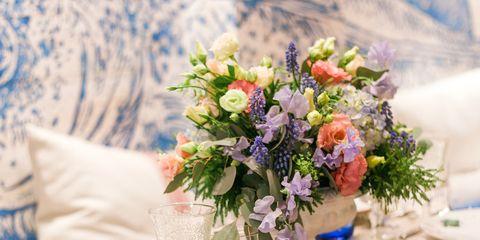 Bouquet, Table, Petal, Furniture, Drinkware, Flower, Cut flowers, Linens, Tablecloth, Glass,
