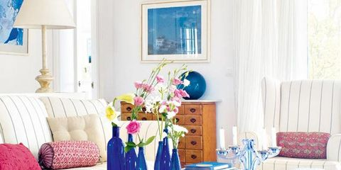 Blue, Room, Interior design, Textile, Furniture, Home, Interior design, Wall, Purple, Linens,