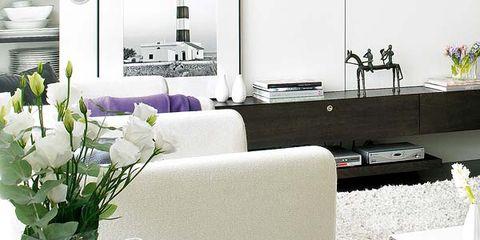 Room, Table, Furniture, White, Interior design, Dishware, Bouquet, Couch, Serveware, Coffee table,