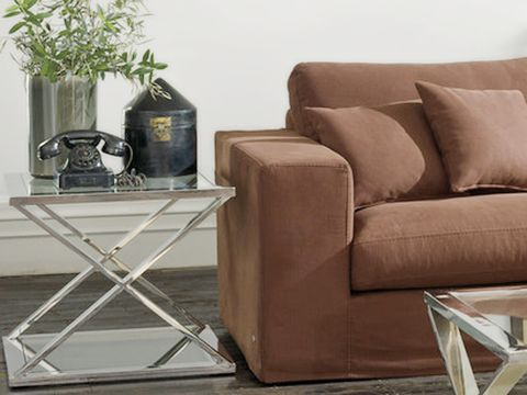 Brown, Flowerpot, Furniture, Floor, Couch, Houseplant, Armrest, Club chair, Living room, studio couch,