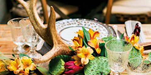 Petal, Serveware, Natural material, Circle, Kitchen utensil, Flower Arranging, Floral design, Centrepiece, Peach, Floristry,