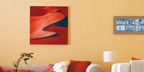 Room, Interior design, Furniture, Orange, Floor, Wall, Lamp, Interior design, Flooring, Pillow,