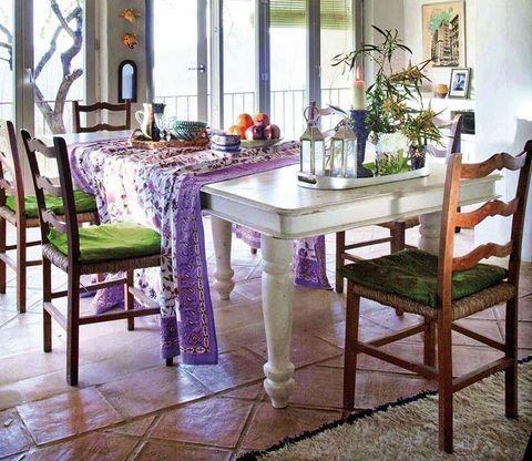 Room, Interior design, Tablecloth, Furniture, Table, Floor, Glass, Flooring, Interior design, Linens,