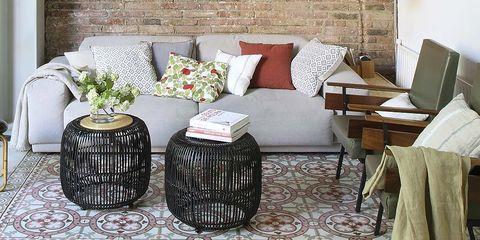 Interior design, Room, Floor, Flooring, Home accessories, Interior design, Living room, Grey, Home, Linens,