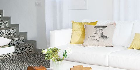 Room, Yellow, Interior design, White, Home, Couch, Living room, Finger food, Wall, Interior design,