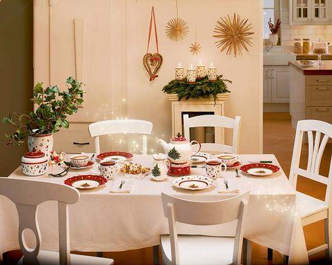 Tablecloth, Room, Interior design, Furniture, Dishware, Table, Serveware, Interior design, Home, Linens,