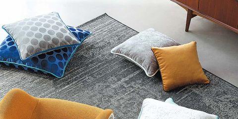 Textile, Linens, Cushion, Pillow, Throw pillow, Teal, Home accessories, Turquoise, Aqua, Tan,