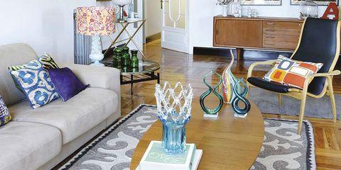 Floor, Room, Interior design, Flooring, Furniture, Living room, Table, Couch, Interior design, Home,