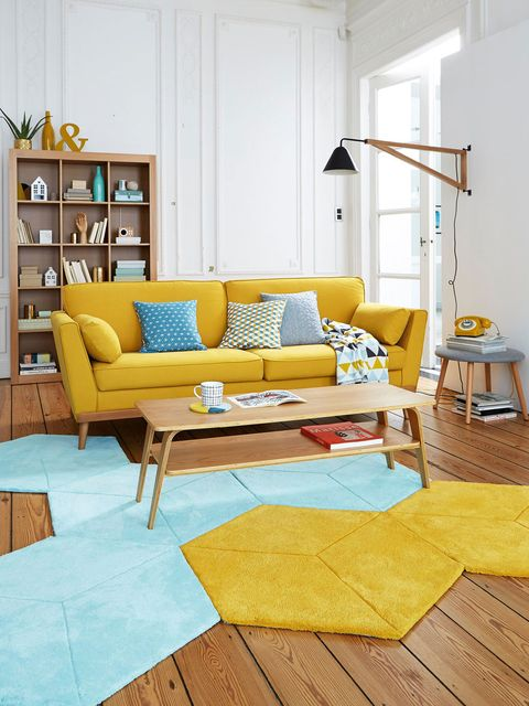 Living room, Furniture, Room, Yellow, Orange, Interior design, Turquoise, Blue, Floor, Couch,
