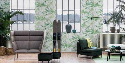 Green, Furniture, Room, Living room, Wall, Window, Floor, Wallpaper, Architecture, Interior design,