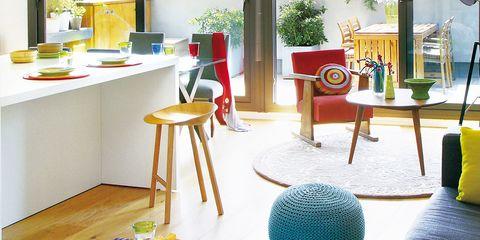 Textile, Interior design, World, Aqua, Teal, Stool, Houseplant, Gas, Sphere, Flowerpot,