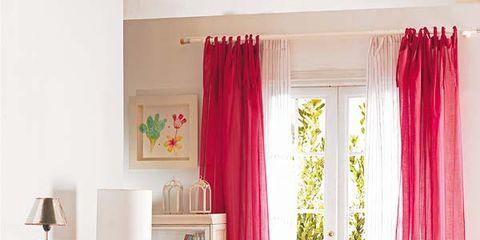 Interior design, Room, Textile, Furniture, Pink, Home, Living room, Interior design, Table, Window treatment,