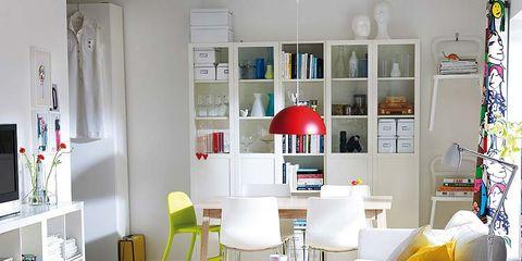 Room, Interior design, Furniture, Wall, Floor, Table, White, Home, Shelving, Living room,