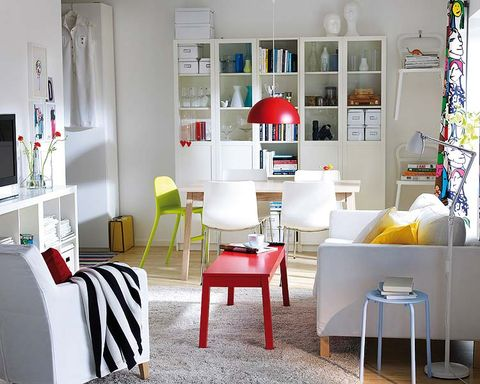 Room, Interior design, Furniture, Wall, Floor, Table, White, Home, Shelving, Living room,
