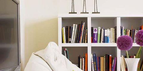 Room, Interior design, White, Wall, Shelving, Home, Furniture, Interior design, Shelf, Purple,