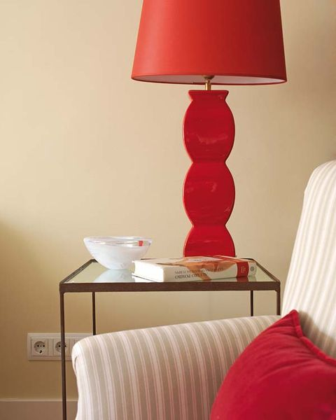 Room, Textile, Lampshade, Red, Lamp, Furniture, Lighting accessory, Interior design, Linens, Home accessories,