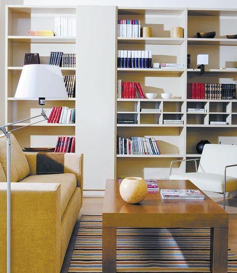 Room, Shelf, Yellow, Interior design, Shelving, Wall, Bookcase, Furniture, Home, Publication,