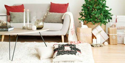 salón comedor decorado para navidad
