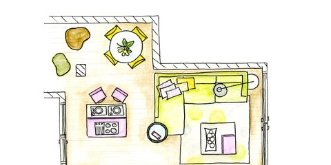 Yellow, White, Line, House, Parallel, Rectangle, Artwork, Illustration, Plan, Drawing,