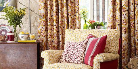 Interior design, Room, Living room, Home, Furniture, Interior design, Fruit, Window treatment, Home accessories, Curtain,