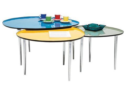 Table, Furniture, Teal, Circle, Paint,