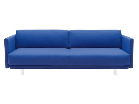 Blue, Furniture, Couch, Living room, Electric blue, Interior design, Cobalt blue, Rectangle, Azure, Black,