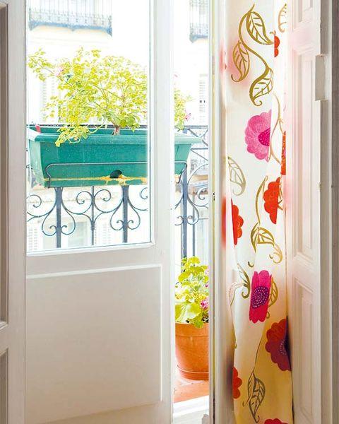 Interior design, Fixture, Teal, Peach, Paint, Creative arts, Wallpaper, Coquelicot, Floral design, Handle,