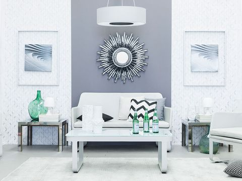 Green, Room, Interior design, Floor, Wall, Furniture, Living room, White, Ceiling, Turquoise,