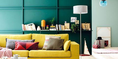 Living room, Furniture, Room, Floor, Interior design, Orange, Yellow, Turquoise, Green, Couch,