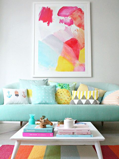 Room, Living room, Furniture, Turquoise, Pink, Table, Interior design, Watercolor paint, Magenta, Modern art,