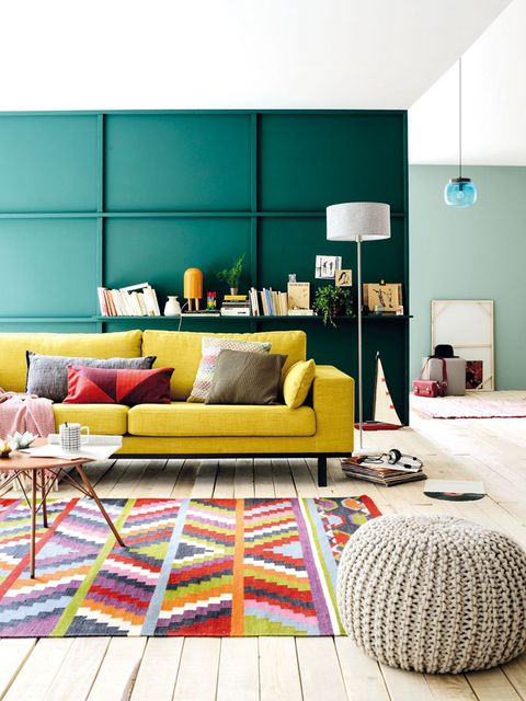 Living room, Furniture, Interior design, Room, Yellow, Couch, Green, Orange, Turquoise, Coffee table,