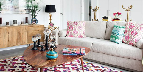 Living room, Furniture, Room, Interior design, Property, Pink, Coffee table, Couch, Home, Table,