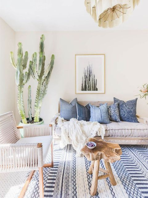 White, Room, Furniture, Living room, Interior design, Green, Yellow, Table, Cactus, Wall,
