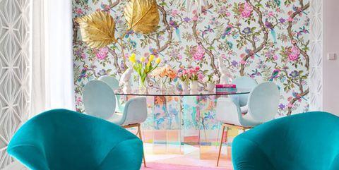 Aqua, Turquoise, Interior design, Room, Wallpaper, Furniture, Wall, Pink, Teal, Floor,