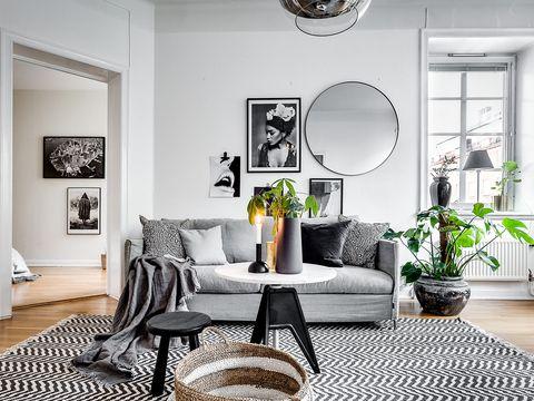 salón en colores grises
