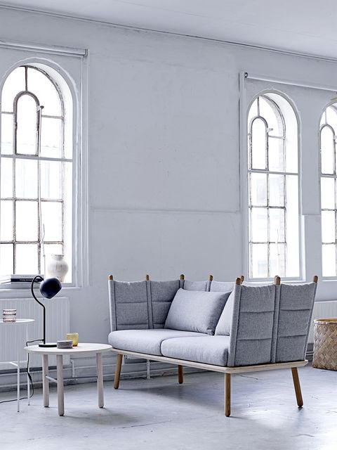 Furniture, Room, White, Wall, Interior design, Fixture, Grey, Couch, Home, Coffee table,