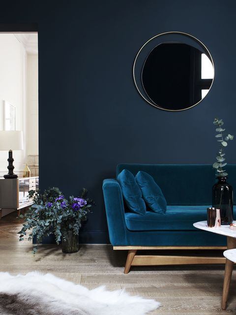 Blue, Room, Interior design, Wall, Furniture, Floor, Interior design, Mirror, Living room, Home,
