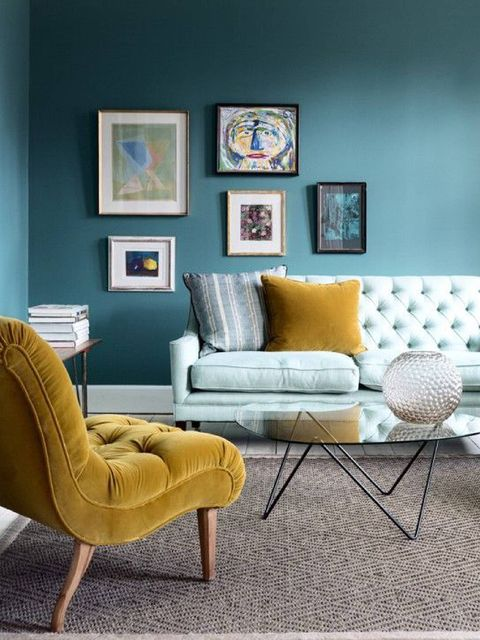 Wood, Room, Yellow, Interior design, Furniture, Wall, Floor, Teal, Picture frame, Hardwood,