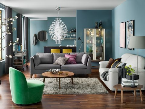 Green, Blue, Room, Interior design, Wood, Living room, Furniture, Floor, Home, Wall,