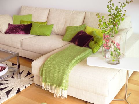 Green, Room, Interior design, Wall, Furniture, Living room, Home, Couch, Pillow, Interior design,