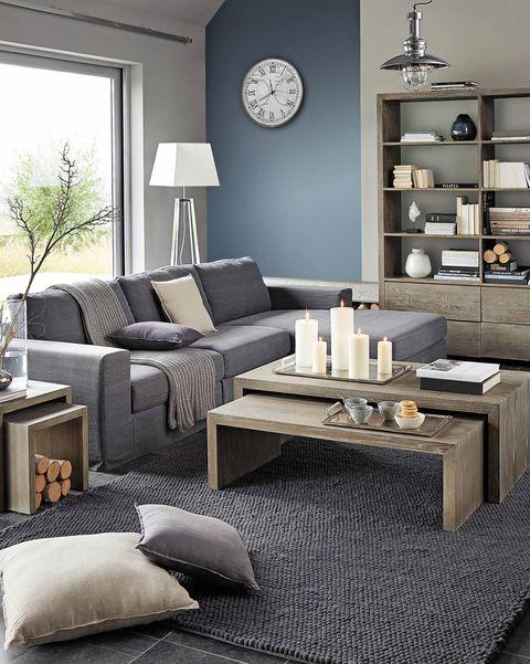 salón moderno en tonos grises