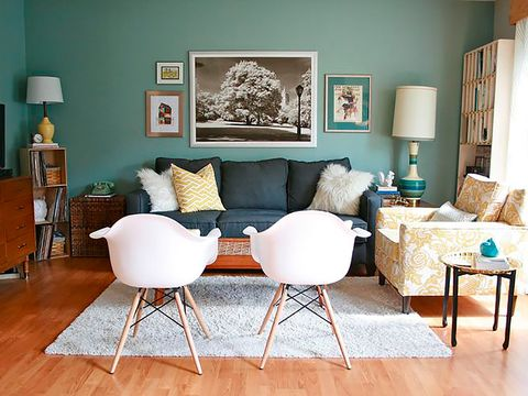 Furniture, Room, Living room, Interior design, Table, Property, Wall, Turquoise, Floor, Chair,