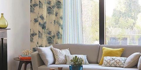 Room, Yellow, Interior design, Furniture, Table, Living room, Couch, Coffee table, Interior design, Glass,