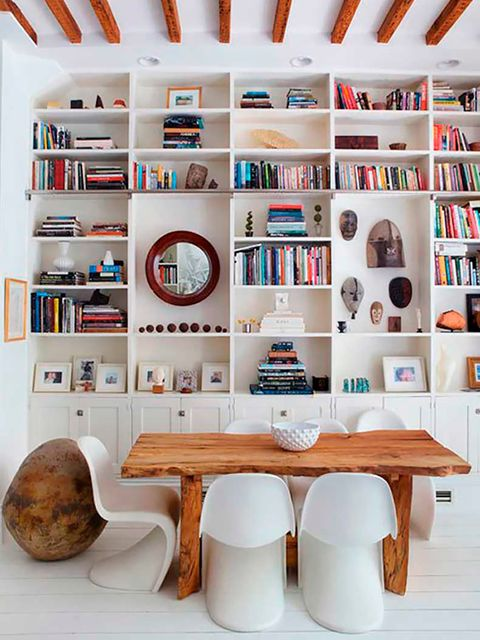 Shelf, Furniture, Interior design, Shelving, Room, Wall, Bookcase, Table, Orange, Living room,