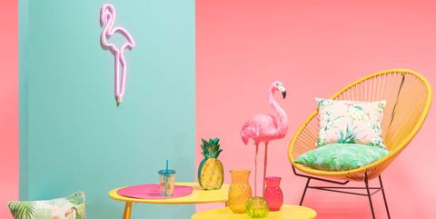 Pink, Turquoise, Green, Flamingo, Room, Furniture, Table, Wallpaper, Magenta, Chair,