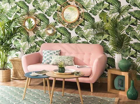 Green, Living room, Room, Furniture, Interior design, Table, Turquoise, Botany, Couch, Wallpaper,
