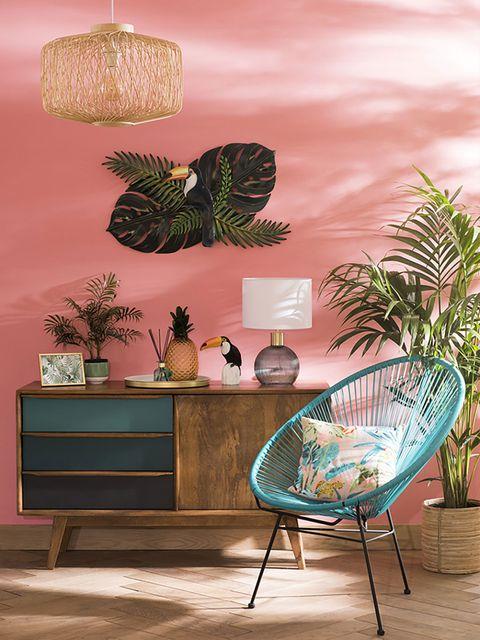 Green, Wall, Turquoise, Room, Interior design, Botany, Leaf, Tree, Furniture, Living room,